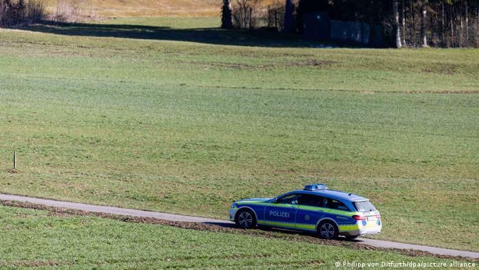 A police car seeking the escaped monkeys on April 8, in Löffingen near Freiburg