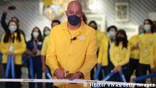 MEXICO CITY, MEXICO - APRIL 08: Malcolm Pruys Director of IKEA Mexico cuts the inaugural ribbon during the opening day of the first store of the Swedish home furnishing brand IKEA in Mexico City at Encuentro Oceania shopping mall on April 08, 2021 in Mexico City, Mexico. (Photo by Hector Vivas/Getty Images)