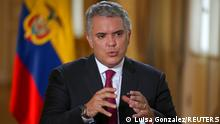 Colombia's President Ivan Duque speaks during an interview with Reuters in Bogota, Colombia, March 12, 2021. Picture taken March 12, 2021. REUTERS/Luisa Gonzalez