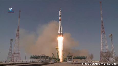 The Soyuz MS-18 spacecraft launch.