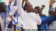 Chad President Idriss Deby at a campaign rally in March 2021