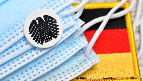 Medical face masks with the German eagle seal and a German flag patch