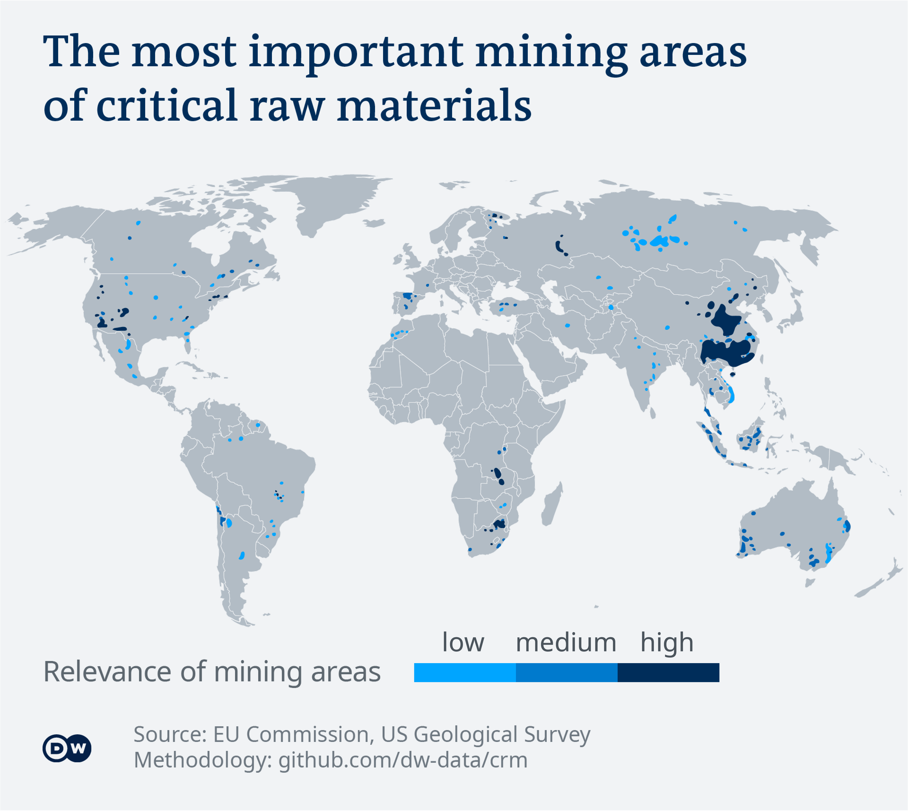 Data visualization: The most important mining areas of critical raw materials