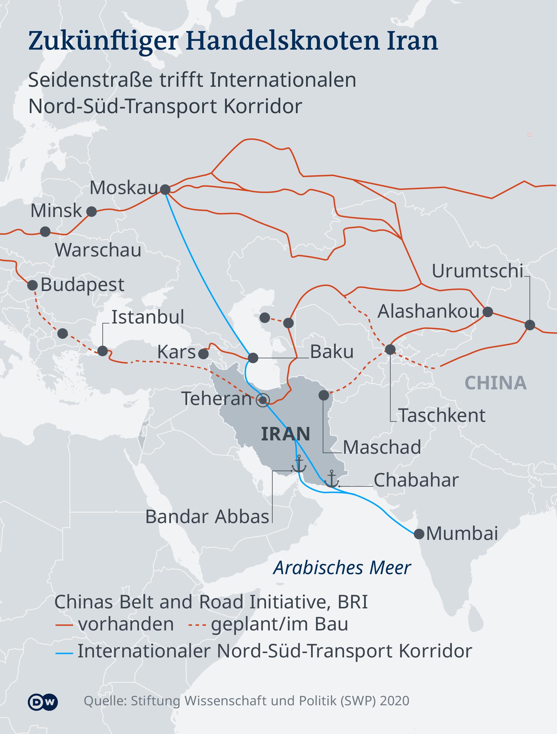 Karte Handelsknoten Iran DE