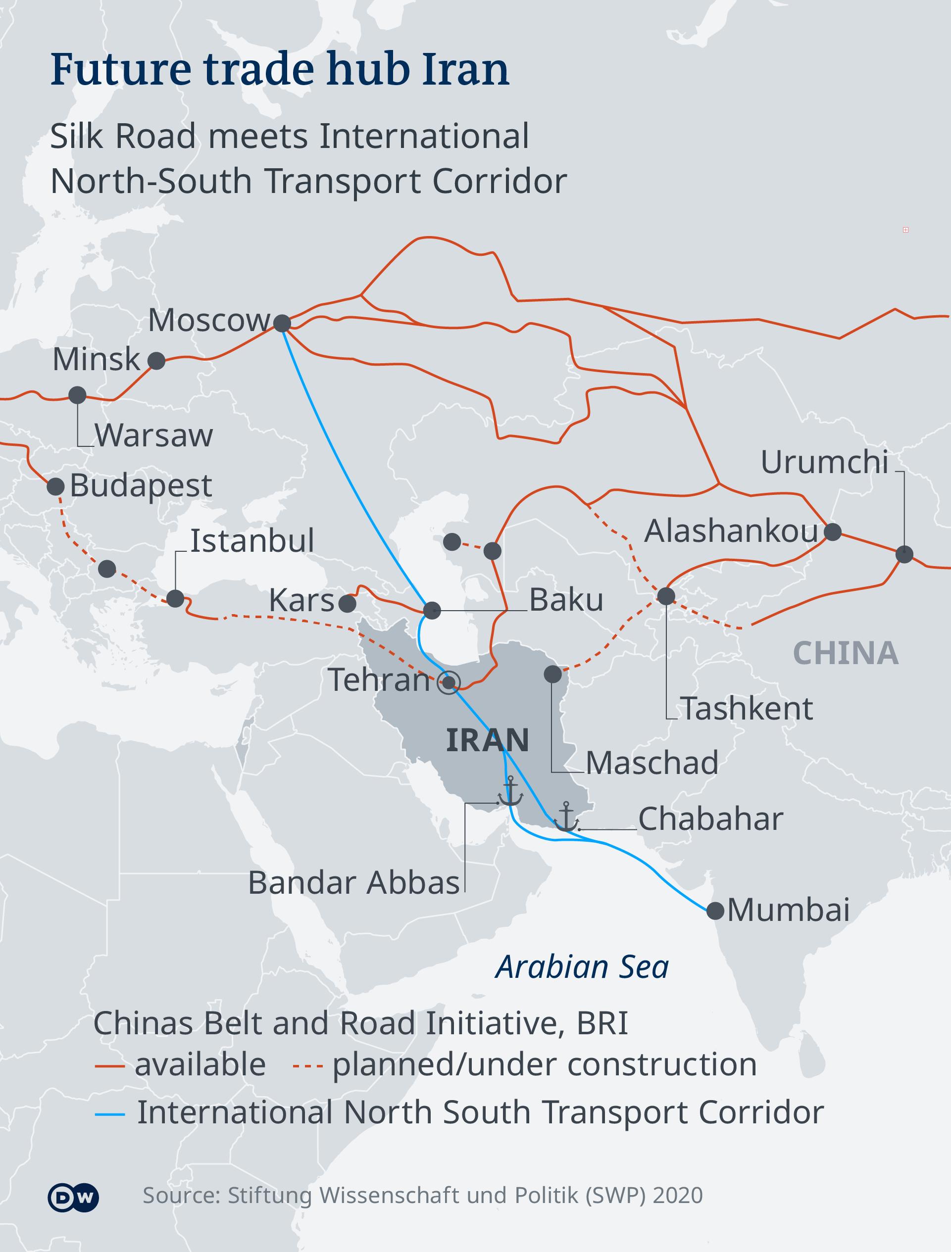 Karte Handelsknoten Iran EN