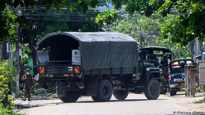 Polive vehicle blocking road in Myanmar