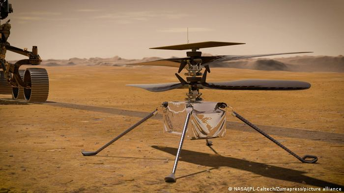 A close up shot of Ingenuity Mars elicopter.