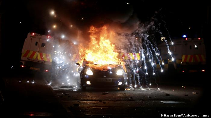 A car burns in Belfast