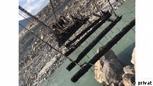 Pakistan l Raikot Bridge in Diamir, Gilgit Baltistan abgebrannt