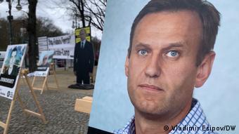 Фото Алексея Навального на акции в его поддержку в Берлине