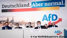 Masked AfD members sit under the party's Germany. But normal slogan in Dresden