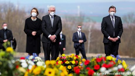 German President Frank-Walter Steinmeier, his wife Elke Büdenbender and Thuringia's State Premier Bodo Ramelow attend commemorations at the former death camp of Buchenwald