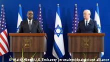 Israel US-Verteidigungsminister Lloyd Austin und Benny Gantz