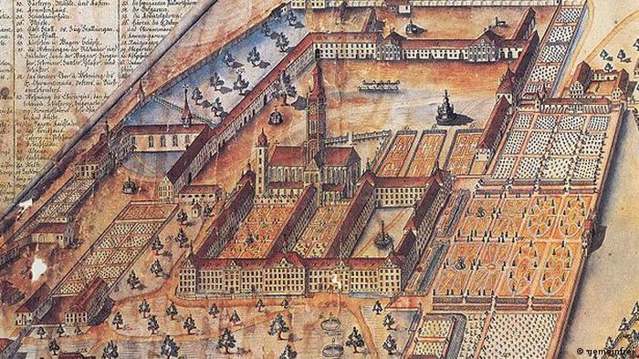 Залемское аббатство на рисунке 1798 года