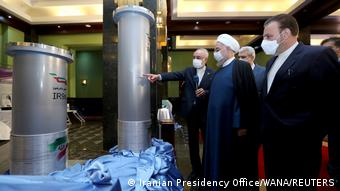 Iran's former President Hassan Rouhani visiting a facility for uranium enrichment on April 10, 2021