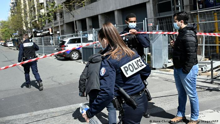 French police cordon off the area near the Henry Dunant private hospital in Paris
