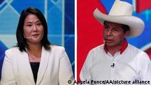 Bildkombo Peru Präsidentschaftskandidaten TV-Duell | Keiko Fujimori und Pedro Castillo
