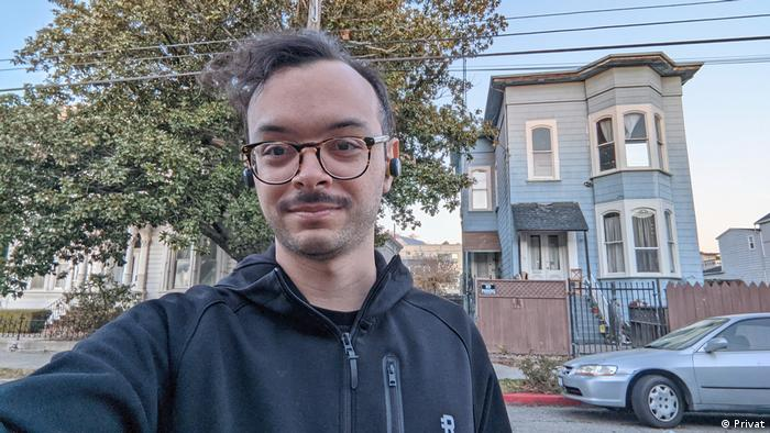 AS picture of Gabriel Jimenez in front of his home in the United States