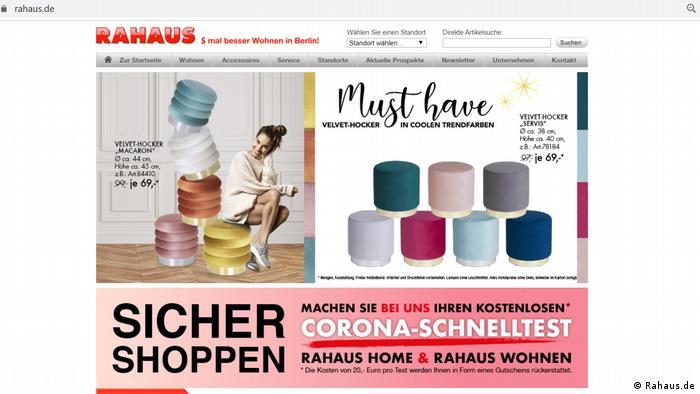 Screenshot Rahaus.de Shoppen mit Corona-Schnelltest
