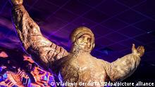 MOSCOW, RUSSIA - APRIL 12, 2021: A statue of Yuri Gagarin on display at the First exhibition marking the 60th anniversary of the first manned space flight, at the Museum of Cosmonautics; on 12 April 1961, Soviet cosmonaut Yuri Gagarin became the first man in space when he orbited the Earth aboard the Vostok 1 spacecraft. Vladimir Gerdo/TASS
