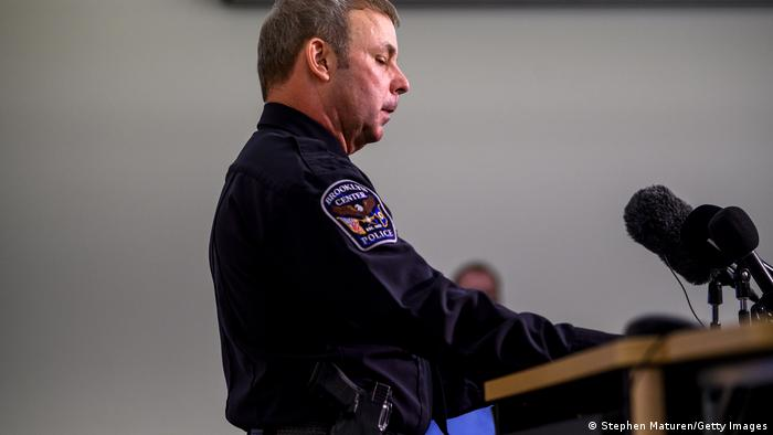 Brooklyn Center Police Chief Tim Gannon speaking at a press conference