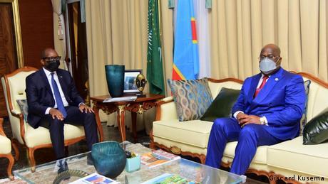 President Felix Tshisekedi (right) with Prime Minister Jean-Michel Sama Lukonde (left)