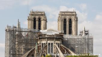 Obras de restauro na Catedral de Notre-Dame, em Paris