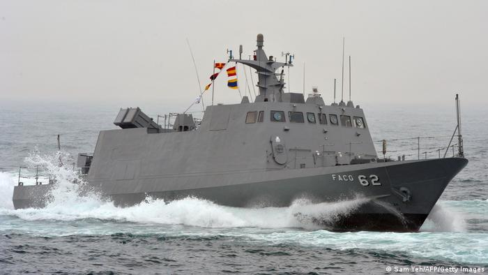 Taiwanese navy ship in the ocean