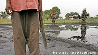 A leaking oil well in Nigeria