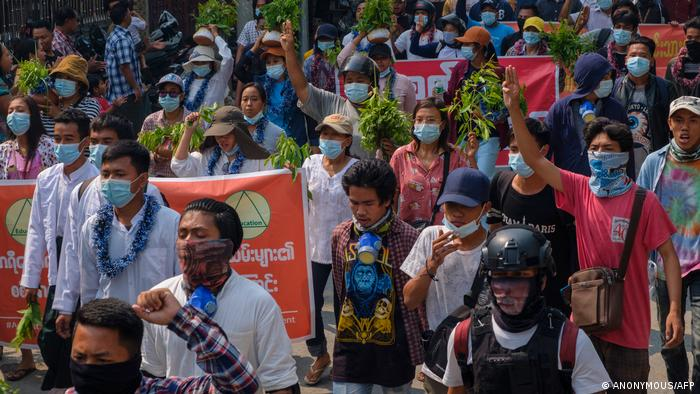 Protesters taking part in a demonstration against the military coup in Mandalay