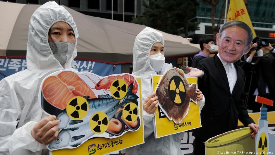 韓國環保組織抗議日本政府的傾倒核廢水決定