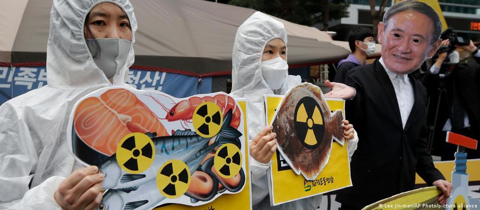 Südkorea Umweltaktivisten Protest nach Entscheidung der japanischen Regierung über das Wasser von Fukushima