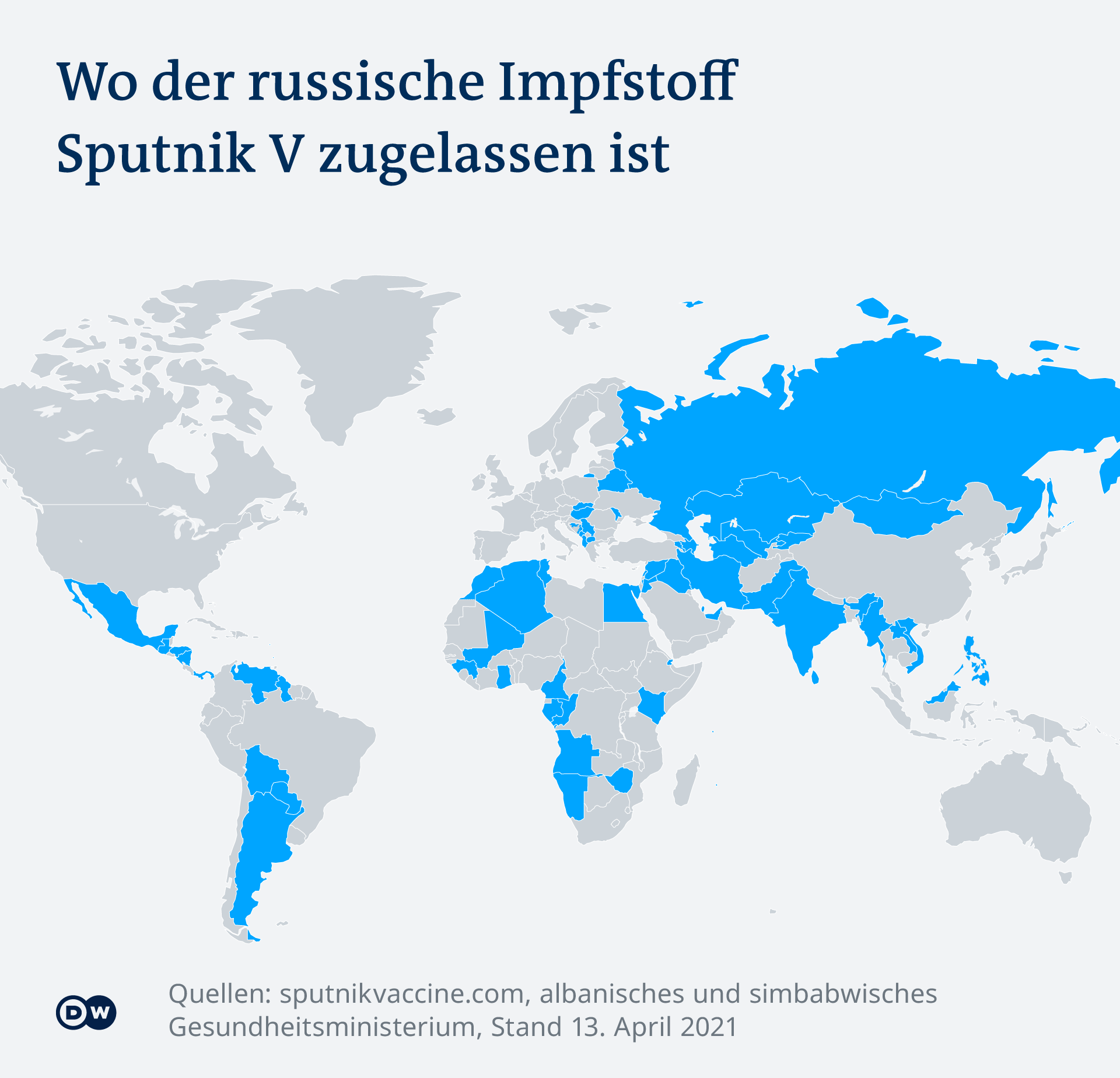 Infografik COVID-19 wo Sputnik V Impfstoff zugelassen ist DE