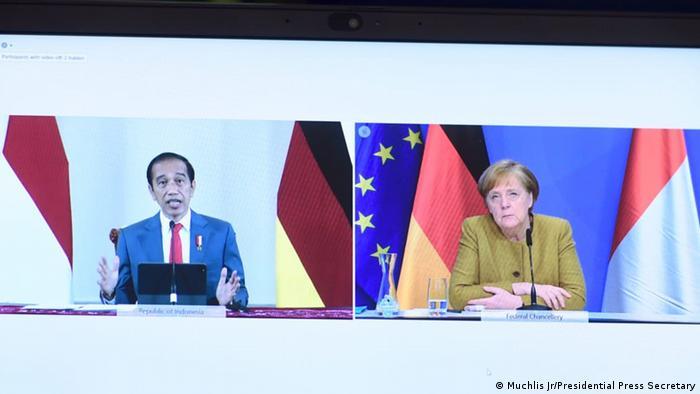 Jokowi dan Merkel bertemu secara virtual, Selasa (13/04)