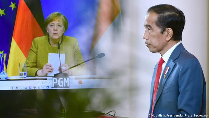 Presiden RI Joko Widodo bertemu dengan Kanselir Jerman Angela Merkel secara virtual, Selasa (13/04).