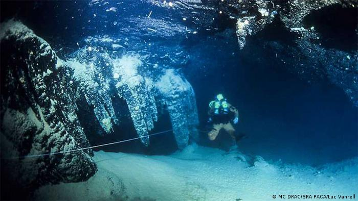 Diver underwater near the Cosquer Cave.