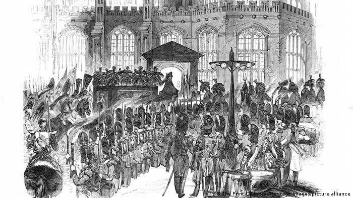 Drawing of a funeral procession.