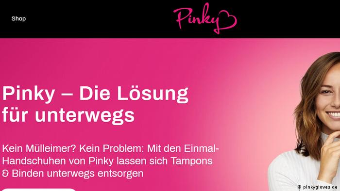 Screenshot Pinky Gloves website