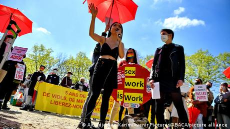 Sex workers protest against the 5 years law of penalization of the client of prostitution