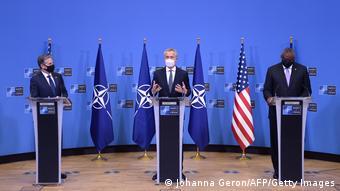 Блинкен, Столтенберг и Остин на пресс-конференции в Брюсселе, 14 апреля