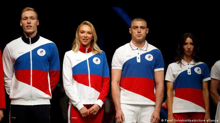 Russian Olympic Comittee (ROC) athletes in their neutral colors for Tokyo 2020