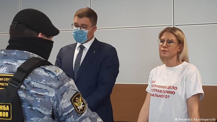 Юрист ФБК Любовь Соболь в зале суда, 15 апреля 2021 года