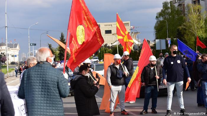 Nordmazedonien   Gewerkschaftsproteste in Skopje