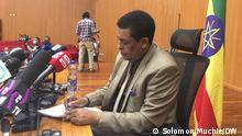 Addis Abeba, Ethiopia, 15.04.2021+++Ambassador Dina Mufti, Ethiopian foreign affairs spokesperson While disclosing the press briefing. (c) Solomon Muchie / DW