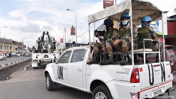 Peacekeepers serving in the United Nations Organization Stabilization Mission in the Democratic Republic of the Congo (MONUSCO) on a pickup truck