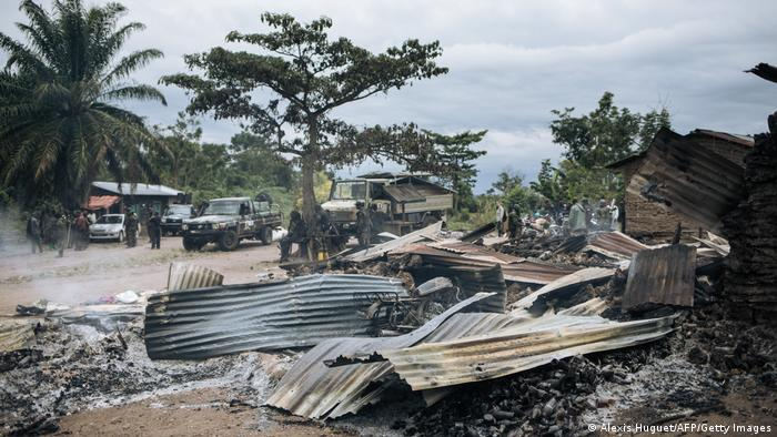 Burnt houses near Beni in the eastern DRC