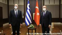 Turkish Foreign Minister Mevlut Cavusoglu meets with his Greek counterpart Nikos Dendias in Ankara