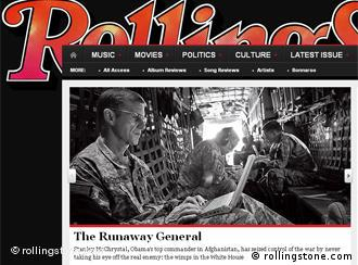 General McChrystal has criticized the Obama administration in a Rolling Stone article