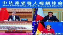 Videokonferenz von Chinas Präsident Xi Jinping, Bundeskanzlerin Angela Merkel und Frankreichs Staatschef Emmanuel Macron