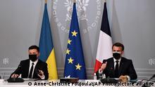 Frankreich | Paris | Videokonferenz Macron, Selenskyj und Merkel